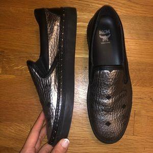 MCM Silver Slide On Sneakers